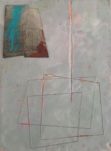 """untitled, encaustic on panel with photo pigment print, 9"""" x 12"""", 2013"""