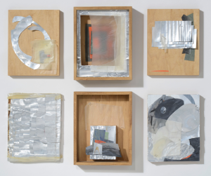 "Maritza Ruiz-Kim, series: IRL, 2013; aluminum, encaustic on silk tissue, nails; each approx 11"" x 8.5"""